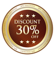 Thirty Percent Discount Gold Label vector image vector image