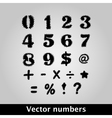 Thorny black symbols and numbers vector image vector image