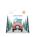 travel on a car in flat style vector image