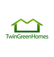 twin green homes real estate house icon logo vector image