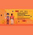 two men pirates costume holding sword spider web vector image