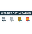 website optimization icon set four elements in vector image vector image
