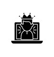 winner in a computer game black icon sign vector image