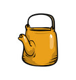 yellow color steel metal kettle with black handle vector image vector image