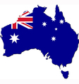 Map of Australia with national flag vector image