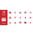 15 candle icons vector image vector image