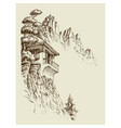 alpine sketch background mountain hut pine tree vector image