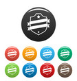 badge business icons set color vector image vector image