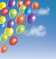 balloons in a blue sky with clouds vector image