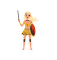 beautiful blonde amazon girl character ancient vector image vector image