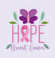 breast cancer awareness month lettering hope vector image vector image