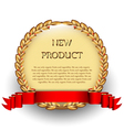 Brown label with red ribbon vector image