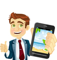 Businessman shows a photo resort on the phone vector image vector image