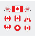Canadian flag different shapes emblems set vector image vector image