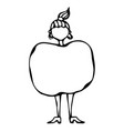 caricature apple female body shape sketch hand vector image vector image