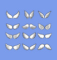 cartoon angel wings set hand drawn wings isolated vector image vector image