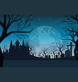 cemetery graveyard grave stone night full moon vector image