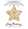 christmas card with decorative star and fir vector image