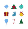 christmas icons set colorful xmas creative vector image