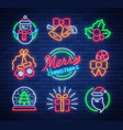 christmas neon signs on vector image vector image