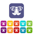 clown face icons set vector image vector image