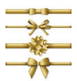collection decorative golden bows with vector image vector image
