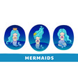 collection of cute cartoon mermaids with blue vector image vector image