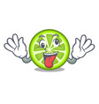 crazy green lemon slices on mascot plate vector image vector image