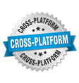 cross-platform round isolated silver badge vector image vector image