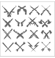 Crossed Weapons Collection in white vector image vector image