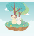 cute dog and cat domestic animals cartoon standing vector image vector image