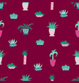 cute seamless pattern with house plants flowers vector image