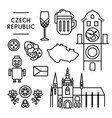 czech various traditional things icons isolated vector image
