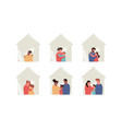 diverse family and pet house people set vector image