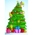 Elf decorating Christmas Tree vector image