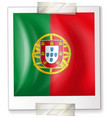 flag of portugal on square paper vector image vector image