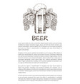 foamy beer mug with hop plant monochrome poster vector image vector image