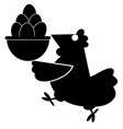 funny hen holds a basket full of eggs vector image vector image
