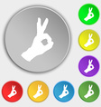Gesture ok icon sign Symbol on eight flat buttons vector image vector image