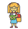 girl in primary or elementary school with book and vector image