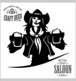girl with beer in a cowboy fashion vector image vector image