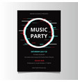 glitch party poster template vector image vector image