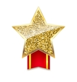 Golden star with gold sparkles and glitter on red vector image vector image