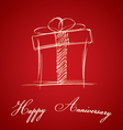 Happy Anniversary and gift box on red background vector image