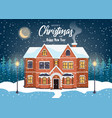 House in snowfall christmas greeting card winter