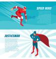 isometric superhero banners vector image vector image