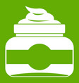 jar of cosmetic cream icon green vector image vector image