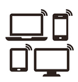 Laptop mobile phone tablet and monitor vector image