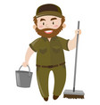 male janitor with water bucket and broom vector image