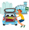 man takes luggage out of car and ready for travel vector image vector image